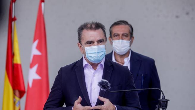El delegado del Gobierno en Madrid, José Manuel Franco, durante la rueda de prensa posterior a la reunión de coordinación en el ámbito del PLATERCAM, en Pozuelo de Alarcón, Madrid, (España), a 20 de septiembre de 2020. El encuentro está centrado en la apl