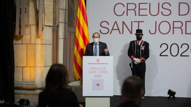 El presidente de la Generalitat, Quim Torra, durante su intervención en la entrega de la Creu de Sant Jordi.