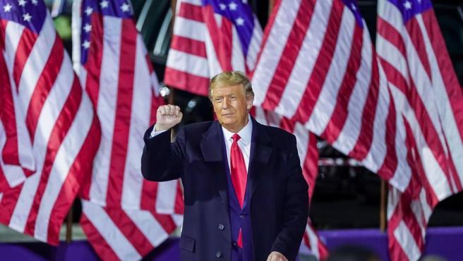 El presidente de EE UU, Donald Trump, durante un acto de campaña electoral en Swanton, Ohio.