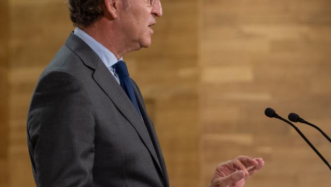 O titular do Goberno galego, Alberto Núñez Feijóo, durante a rolda de prensa posterior á reunión semanal do Consello da Xunta. San Caetano, Santiago de Compostela, 17/09/20.