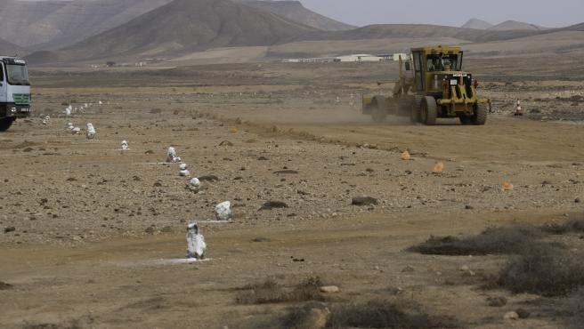 Obras de la nueva autovía en Fuerteventura entre el aeropuerto, Puerto del Rosario y La Caldereta