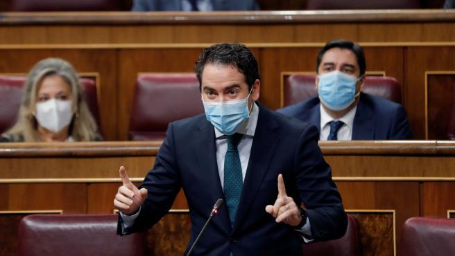 El secretario general del PP, Teodoro García Egea, interviene en el Congreso.