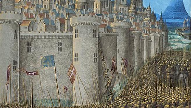 Representación del asedio de Antioquía durante la primera cruzada en una miniatura medieval (Jean Colombe).