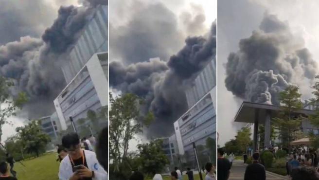 Imágenes mostradas en las redes sociales del incendio en un laboratorio de Huawei en China.