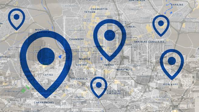 Mapa de zonas afectadas en Madrid.