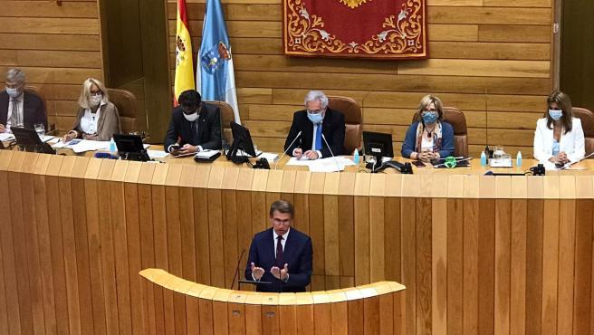 El candidato del PP a la Presidencia de la Xunta, Alberto Núñez Feijóo, en la sesión de investidura en el Parlamento de Galicia.