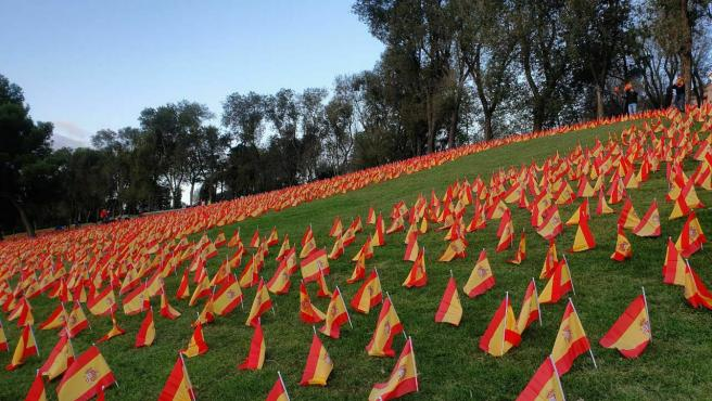 Miles de banderas de España han sido colocadas en el césped del parque Roma de Madrid.