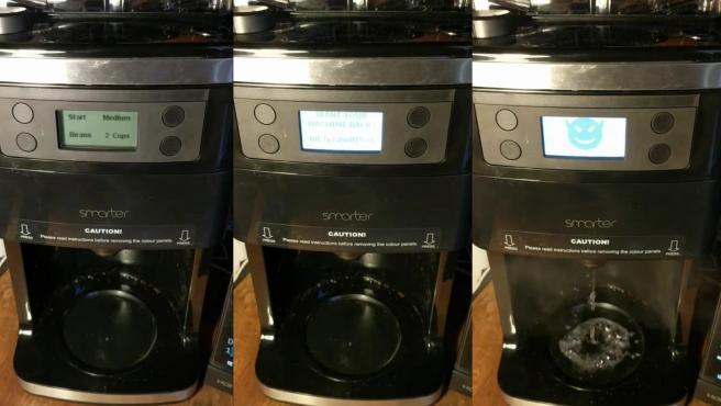 Cafetera en funcionamiento.