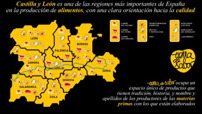Web de Tierra de Sabor con el mapa de Castilla y León.