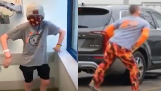 Aiden Yielding y su padre Chuck bailando en el hospital.