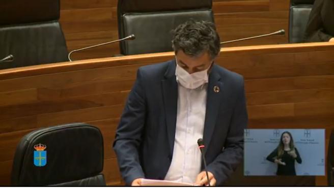 El consejero de Medio Rural y Cohesión Territorial, Alejandro Calvo, en la Junta General.
