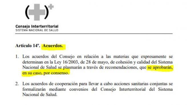 El artículo 14.1 del reglamento del consejo interterritorial.