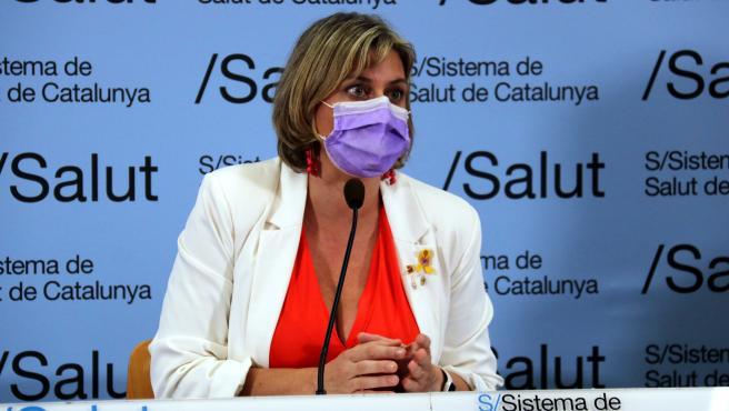La consellera de Salud, Alba Vergés, durante una rueda de prensa.