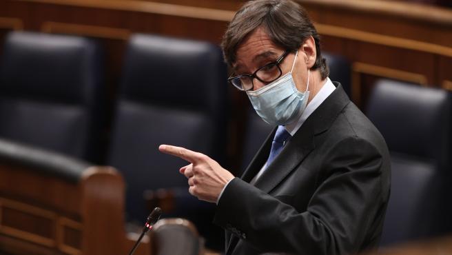 El ministro de Sanidad, Salvador Illa, interviene en una nueva sesión de control al Gobierno en el Congreso de los Diputados, en Madrid, (España), a 30 de septiembre de 2020