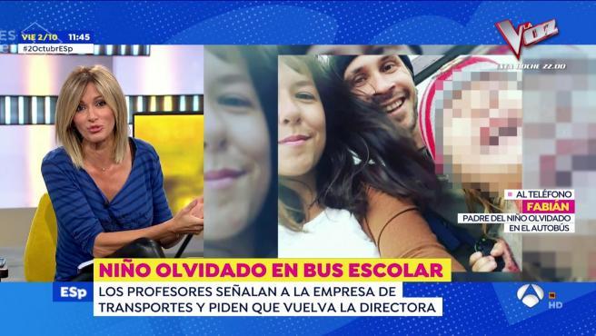 Susanna Griso entrevista al padre de un niño olvidado en un autobús escolar.