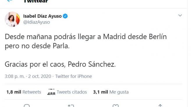Tuit de Isabel Díaz Ayuso sobre las restricciones en Madrid.