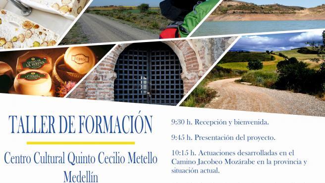 Cartel sobre un curso de formación empresarial en torno al Camino Jacobeo Mozárabe