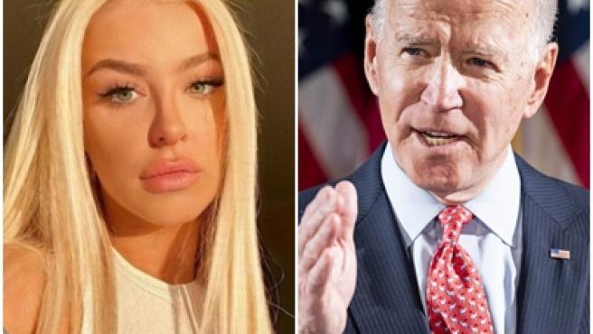 Tana Mongeau y Joe Biden.