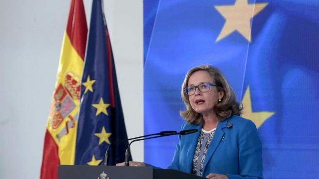 Nadia Calviño, en la presentación del plan de recuperación, el 7 de octubre.