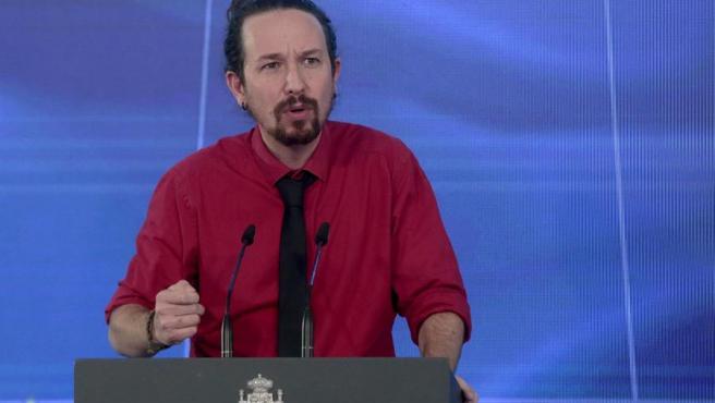 Pablo Iglesias, en la presentación del plan de recuperación, 7 de octubre.