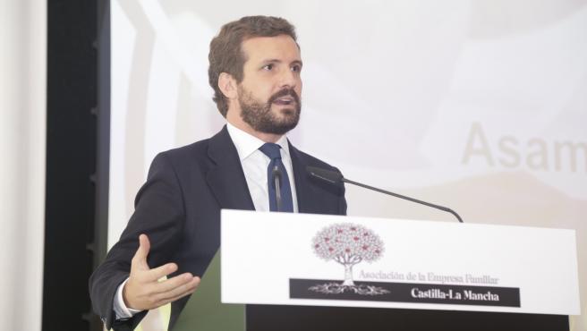 El presidente del PP, Pablo Casado, en la Asamblea de la Asociación de la Empresa Familiar.