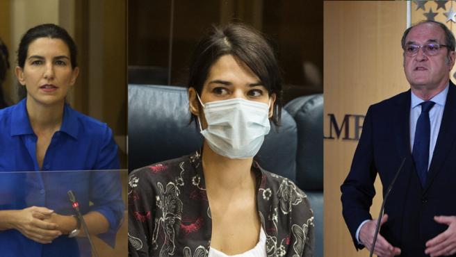 Rocío Monasterio (Vox), Isa Serra (Unidas Podemos) y Ángel Gabilondo (PSOE).