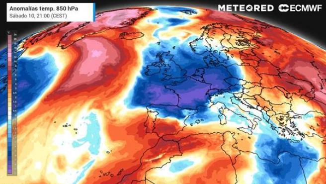 Una masa de aire polar llegará por el norte de la Península Ibérica el sábado.