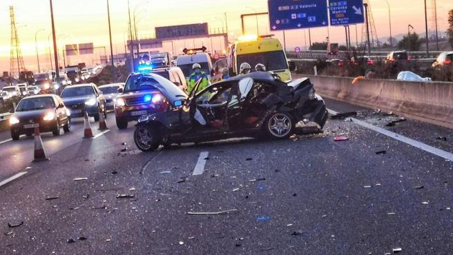 Imagen del accidente en la M-45