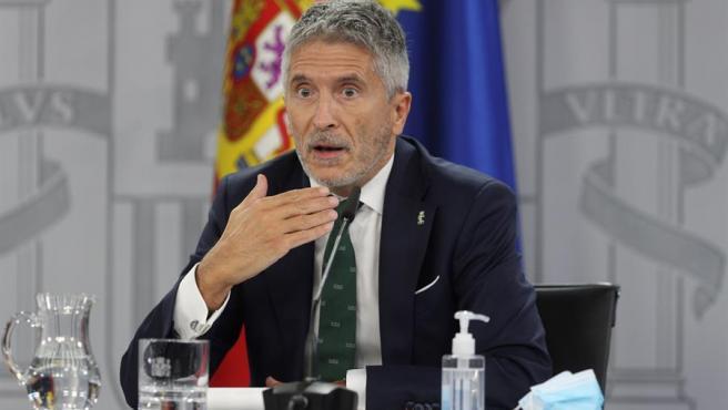 El ministro del Interior, Fernando Grande-Marlaska, en la rueda de prensa de este viernes.