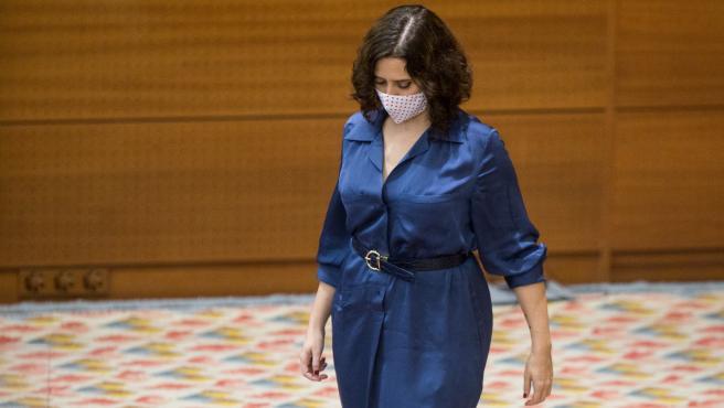 La presidenta de la Comunidad de Madrid, Isabel Díaz Ayuso, este jueves en la Asamblea de Madrid.