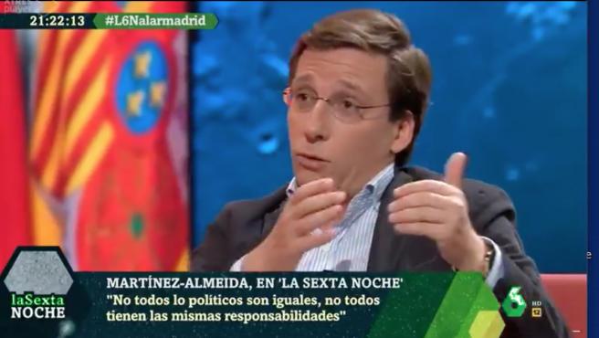 El alcalde de Madrid, José Luis Martínez-Almeida, en una entrevista en La Sexta.