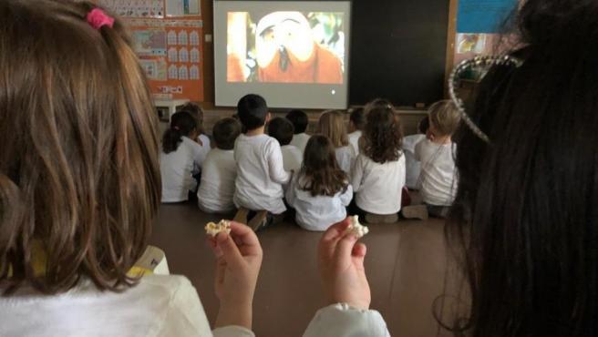 Imagen de una de las proyecciones de Aulafilm en una clase.