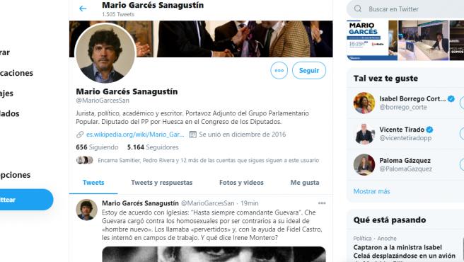 Tuit de Mario Garcés sobre el elogio de Pablo Iglesias al Che Guevara.