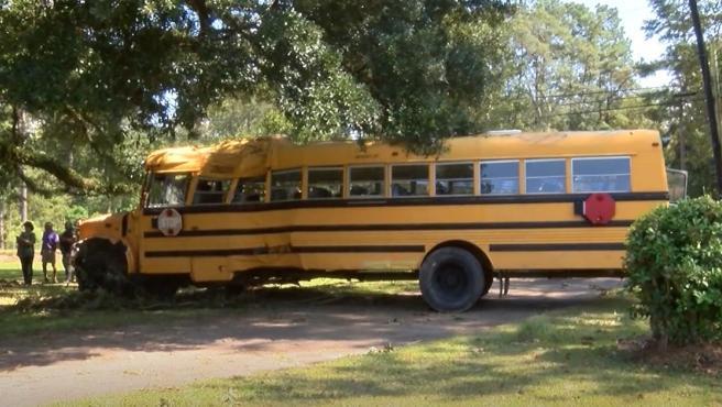El autobús estrellado contra un árbol, tras 45 minutos de persecución.