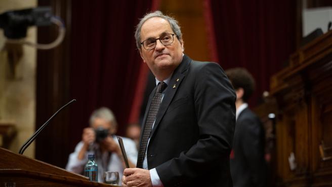 El ya expresidente de la Generalitat Quim Torra interviene durante una sesión plenaria monográfica en el Parlament sobre su inhabilitación, en Barcelona, Catalunya (España), a 30 de septiembre de 2020. La Mesa del Parlament admitió a trámite la solicitud