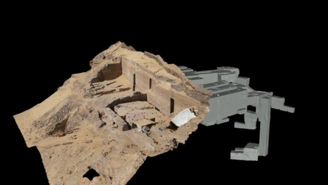 Recreación en 3D de las tumbas faraónicas halladas en la colina de Qubbet el Hawa.