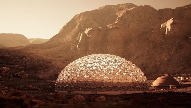 Representación artística de una cúpula en Marte, como parte del concepto de la ciudad de Nüwa (SONET).