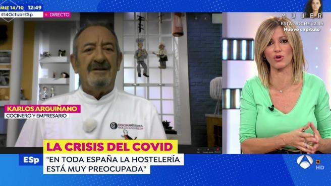 Karlos Arguiñano habla de la crisis en el sector de la hostelería en 'Espejo público'.