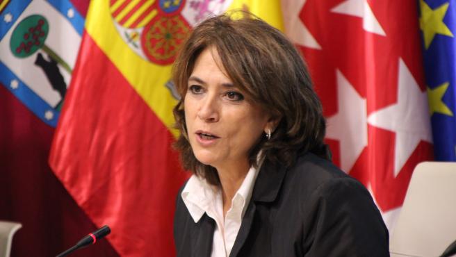 Dolores Delgado, este jueves en un acto organizado por el Colegio de Abogados de Madrid.
