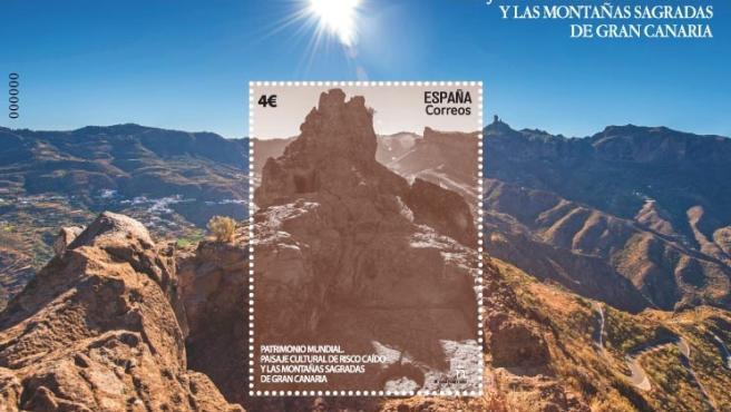 Sello dedicado al 'Paisaje Cultural de Risco Caído y las Montañas Sagradas de Gran Canaria'