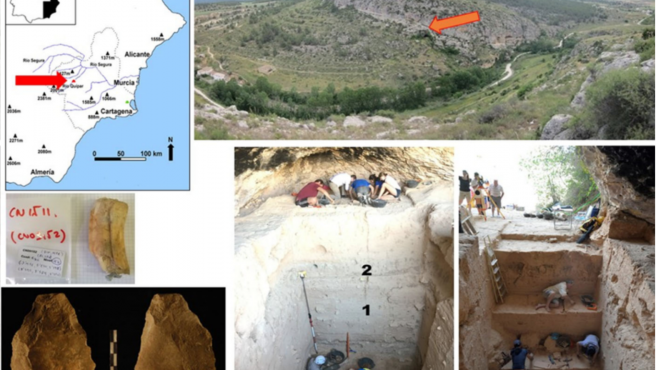 Arriba a la izquierda: ubicación de la Cueva Negra. Arriba a la derecha: Cueva Negra sobre el desfiladero del Quípar. Centro izquierda: diente fósil equino CN1511. Abajo a la izquierda: hacha de mano bifacialmente escamada. Abajo centro: sección de excavación que muestra 1 profundidad aproximada de la que se dató el CN1511, y 2 profundidad aproximada de la que se excavó el hacha de mano