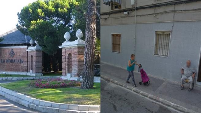 Combo de fotos de La Moraleja (Madrid) y Carrús (Elche), los barrios más rico y más pobre de España, respectivamente.