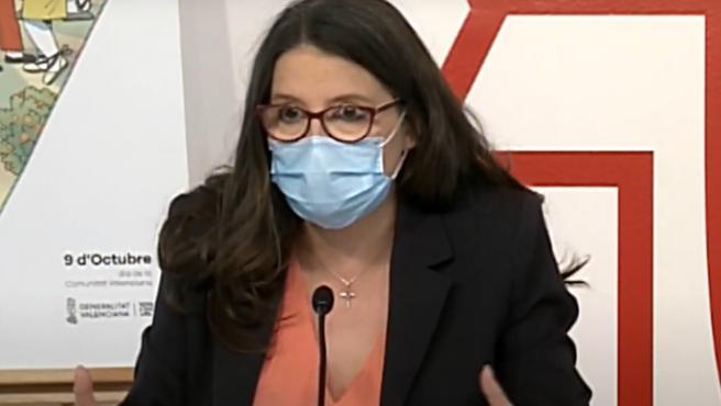 La vicepresidenta del Consell, Mónica Oltra, en la roda de premsa després del ple