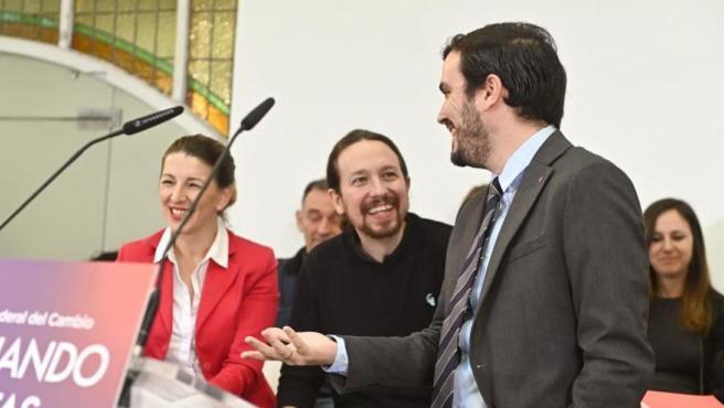Imagen de archivo de tres de los ministros de Unidas Podemos.