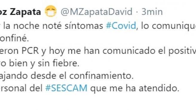 El diputado de Cs David Muñoz Zapata, positivo en COVID-19 tras sentir síntomas al acabar el último pleno