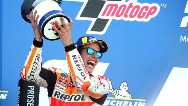 Álex Márquez, en el podio del Motorland de Aragón