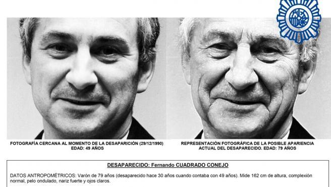 Fotografía de Fernando Cuadrado Conejo y representación fotográfica de su posible apariencia actualmente.