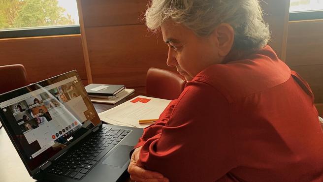 La alcaldesa de Gijón, Ana Gonzalez, en rueda de prensa telemática