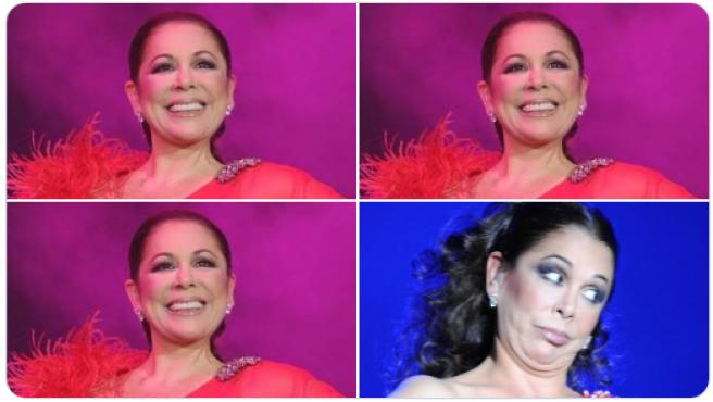 """Isabel Pantoja en el meme """"las ruedas del carrito del súper""""."""
