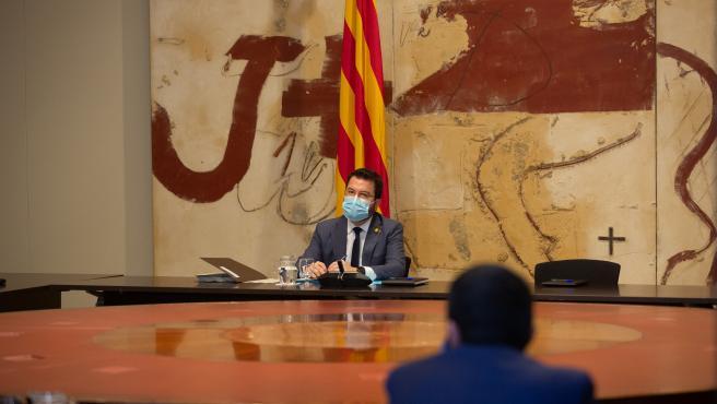 El vicepresidente del Gobierno y consejero de Economía y Hacienda, Pere Aragonès, durante la reunión semanal del Consejo Ejecutivo en la Generalitat de Catalunya, en Barcelona, Cataluña, (España), a 13 de octubre de 2020.